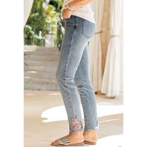 Soft Surroundings Touch of Lace Jeans